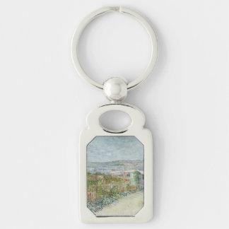 Montmartre Behind Moulin de la Galette by Van Gogh Silver-Colored Rectangular Metal Keychain