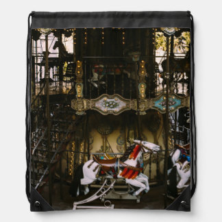 Montmartre Carousel, Paris Travel Photograph Drawstring Bag