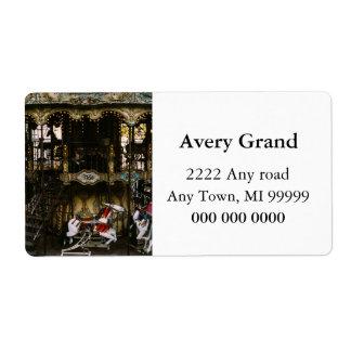 Montmartre Carousel, Paris Travel Photograph Shipping Label