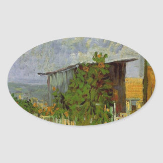 Montmartre Path with Sunflowers by Van Gogh. Oval Sticker