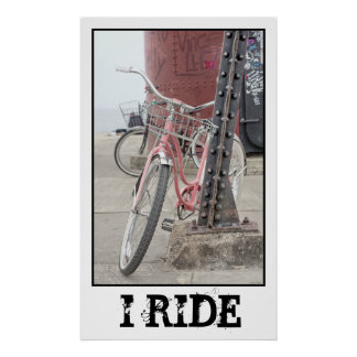 Monto la bicicleta del vintage póster