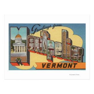 Montpelier, Vermont - Large Letter Scenes Postcard
