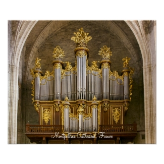Montpellier Cathedral organ poster