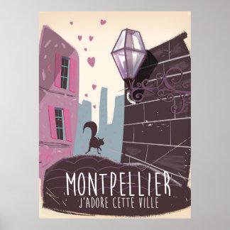 Montpellier France city travel poster