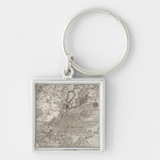 Montpellier Silver-Colored Square Keychain