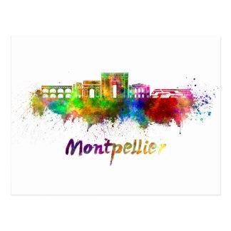 Montpellier skyline in watercolor postcard