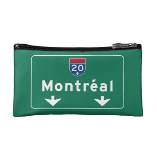 Montreal, Canada Road Sign Cosmetic Bag