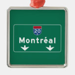 Montreal, Canada Road Sign Square Metal Christmas Ornament