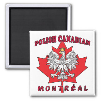 Montreal Polish Canadian Leaf 2 Inch Square Magnet