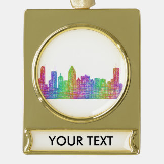 Montreal skyline gold plated banner ornament