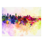 Montreal skyline in watercolor background photo print