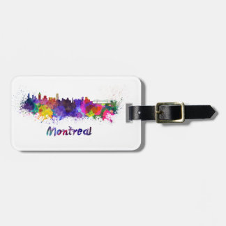Montreal skyline in watercolor bag tag