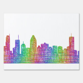 Montreal skyline lawn sign