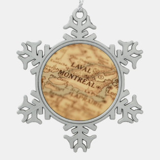 MONTREAL Vintage Map Snowflake Pewter Christmas Ornament