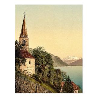Montreux la iglesia y abolladura du Midi lago ge Tarjetas Postales