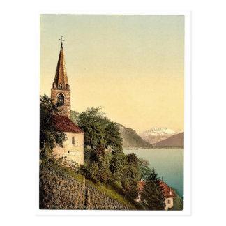 Montreux la iglesia y abolladura du Midi lago ge Tarjeta Postal