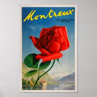 Montreux Switzerland rose vintage travel art Poster