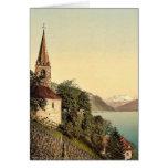 Montreux, the church and Dent du Midi, Geneva Lake Greeting Card