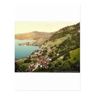 Montreux. View from Chambebaud, Geneva Lake, Switz Postcard