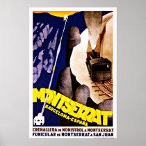 Montserrat Barcelona Espana Vintage Travel Poster