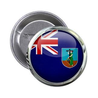 Montserrat Flag Glass Ball Pinback Button