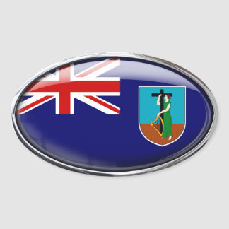 Montserrat Flag Glass Oval Oval Sticker