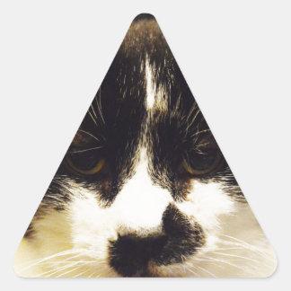 Monty Black and White cat Triangle Sticker