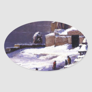 Monument in the Snow by T. C. Steele Oval Sticker