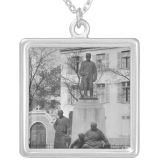 Monument to Emile Zola Silver Plated Necklace