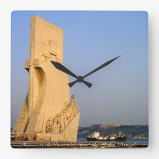 Monument to the Discoveries, Lisbon, Portugal Square Wall Clock