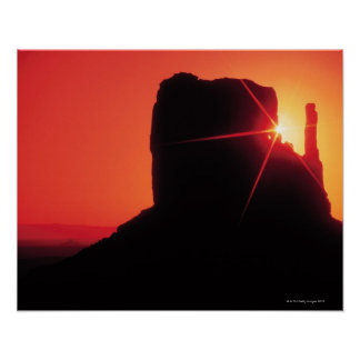 Monument Valley at sunset , Utah Poster