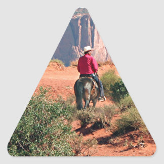 Monument Valley horse and rider, Utah, USA Triangle Sticker