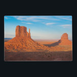 """Monument Valley Utah desert mittens in panoramic Placemat<br><div class=""""desc"""">Monument Valley Utah desert mittens in panoramic of Western landscape at sunset National Park shadow of one mitten on another 