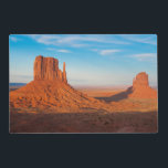 "Monument Valley Utah desert mittens in panoramic Placemat<br><div class=""desc"">Monument Valley Utah desert mittens in panoramic of Western landscape at sunset National Park shadow of one mitten on another 