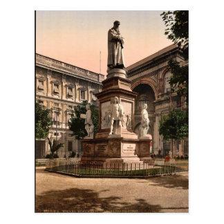 Monumento a Leonardo di Vinci, vintag de Milano, I Postales