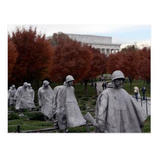 Monumento coreano y caída del Lincoln memorial Postal