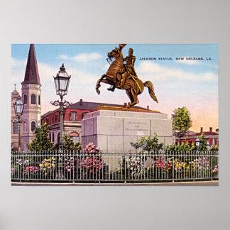 Monumento cuadrado de New Orleans Luisiana Jackson Poster