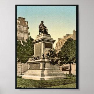 Monumento de Alejandro Dumas, vintage P de París,  Poster