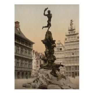 Monumento de Brabo, Amberes, Bélgica Tarjeta Postal
