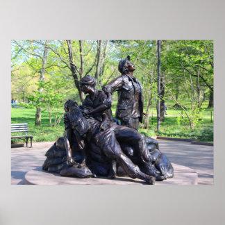 Monumento de guerra de Vietnam de las mujeres Póster