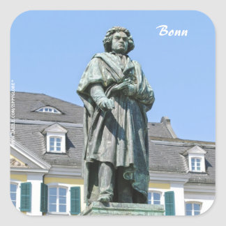 Monumento de Ludwig van Beethoven en Bonn Pegatina Cuadrada