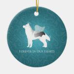 Monumento de plata del mascota del perro del husky adorno navideño redondo de cerámica