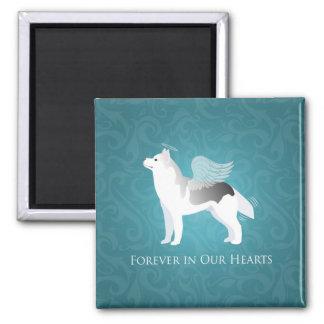 Monumento de plata del mascota del perro del husky imán cuadrado