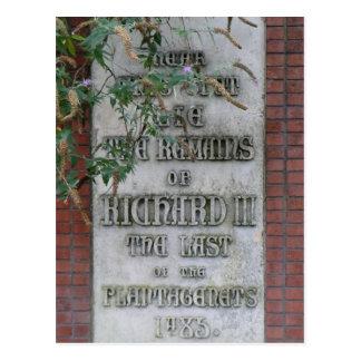 Monumento de Richard III en Leicester, Inglaterra Postal