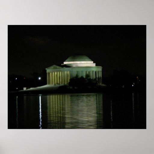 Monumento de Thomas Jefferson en la noche Posters