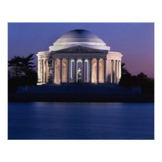 Monumento de Thomas Jefferson en la oscuridad Póster