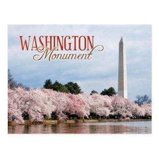 Monumento de Washington con las flores de cerezo Postal
