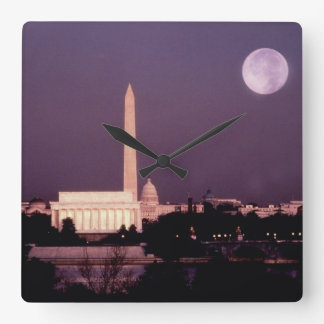 Monumento de Washington, el capitolio y Jefferson Reloj Cuadrado