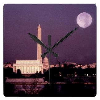 Monumento de Washington, el capitolio y Jefferson Reloj De Pared