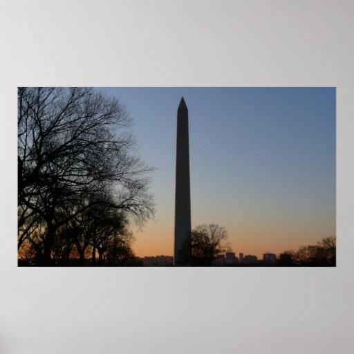 Monumento de Washington en la impresión de la pues Poster